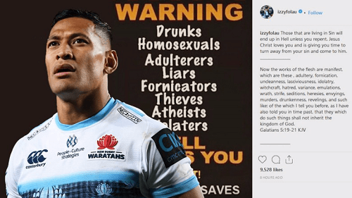 Israel Folau Social Media Comments